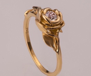 gold, ring, and rose image