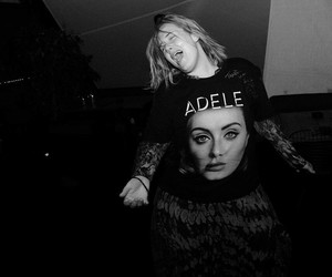 Adele, black and white, and tour image