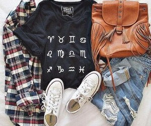 converse, outfit, and flannel shirt image