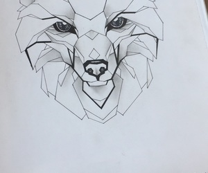 drawing, mosaico, and wolf image