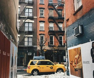 new york, nyc, and yellow taxi image