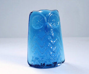 etsy, cobalt blue glass, and blenko owl image