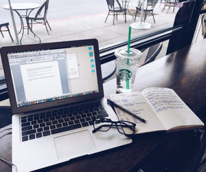 study, starbucks, and glasses image