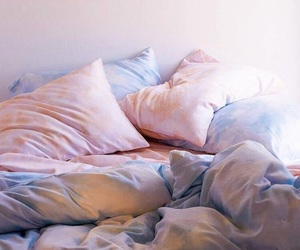 pillow, bed, and blanket image