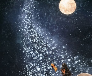 moon, stars, and art image