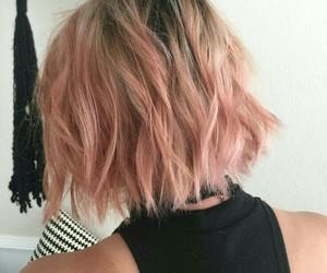 hair, pink, and short image