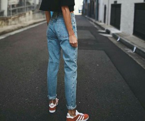 adidas, jeans, and black image