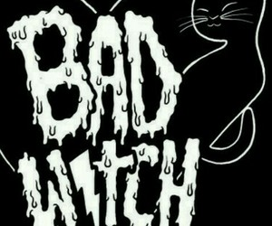 bad girl, black and white, and cat image
