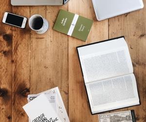 books, coffee, and George Orwell image
