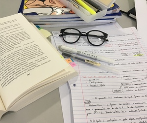 books, glasses, and handwriting image