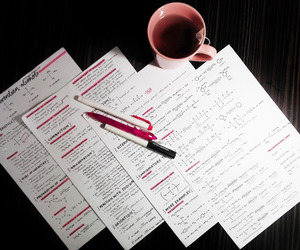 notes, pens, and pink image