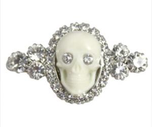 barrette, crystal, and skull image