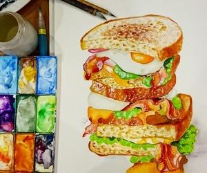 art, bacon, and egg image