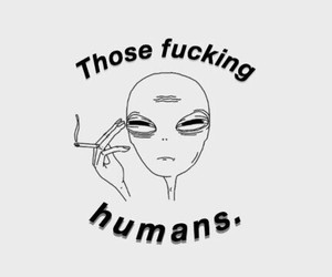alien, human, and smoke image