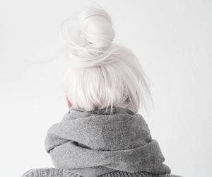 hair, white, and bun image