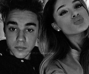 black and white, couple, and justin bieber image