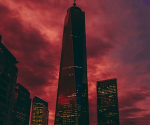 red, city, and sky image
