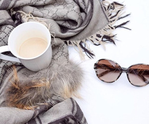 fashion, coffee, and scarf image