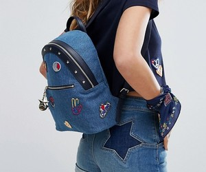 backpack, denim, and patch image
