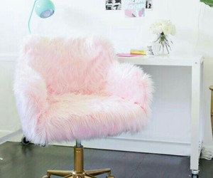 desk, fur, and pink image