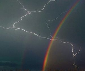 rainbow, lightning, and storm image