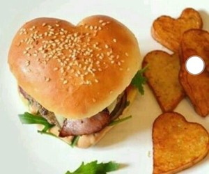 hamburger, heart, and love image