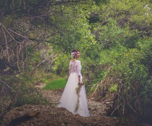 bride, dress, and nature image