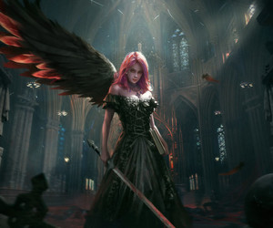 angel, cathedral, and digital art image