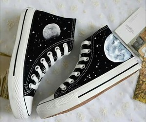 moon, converse, and shoes image