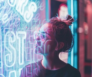 girl, light, and neon image