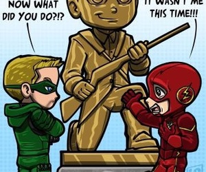the flash, green arrow, and oliver queen image
