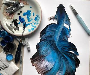 art, blue, and fish image