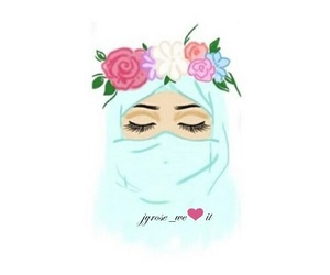 hijab, flowers, and blue image