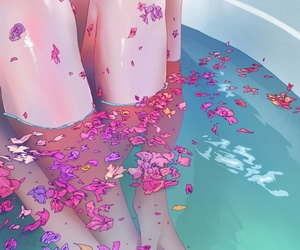 flowers, art, and bath image