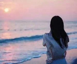 girl, sea, and sunset image