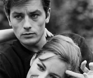Alain Delon and black and white image