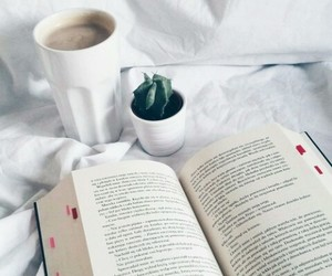 book, cactus, and coffee image