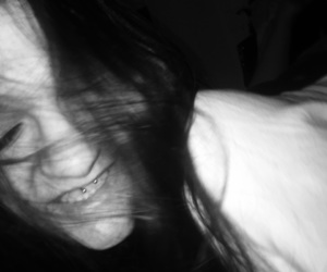 black, smile, and black and white image