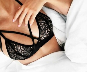 bed, black, and bra image