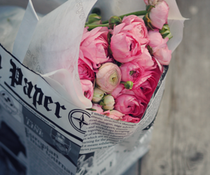 flowers, newspaper, and peonies image