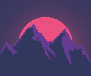 mountains, pink, and purple image