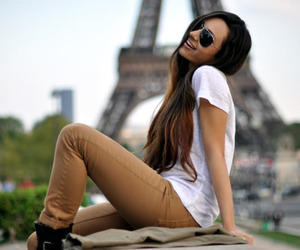 girl, paris, and sunglasses image