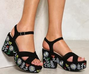 black, heels, and embroidered image