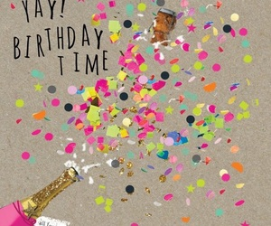 birthday, champagne, and confetti image