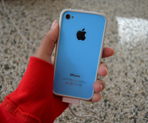 iphone and blue image