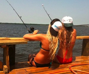 summer, friends, and fishing image