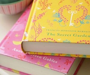 book, pink, and yellow image
