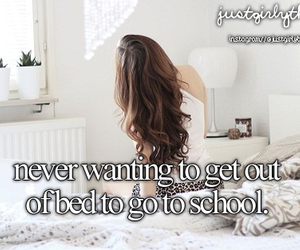 school, bed, and just girly things image