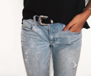 belt, ripped jeans, and white theme image