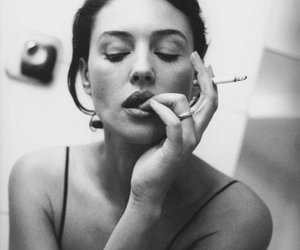 cigarette, black and white, and woman image